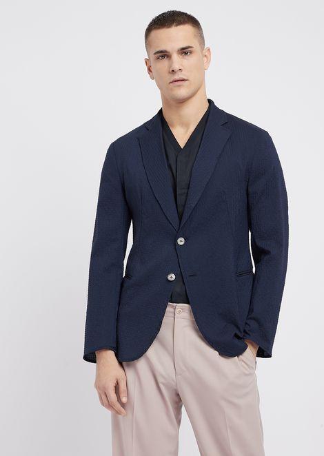Slim-fit single-breasted blazer in stretch wool seersucker