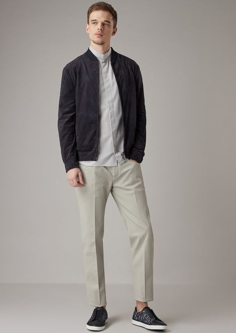 Blouson in alcantara-type fabric with a ribbed collar