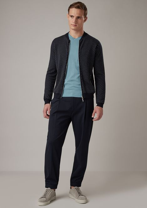 Jacquard stitch piqué blouson with diagonal motif
