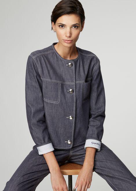 Washed stretch cotton denim jacket