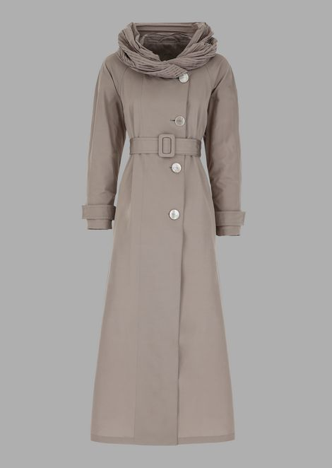 Cotton blend faille trench coat with pleated collar