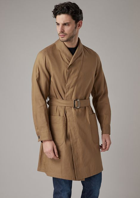 Water repellent linen blend straw trench coat washed in garment
