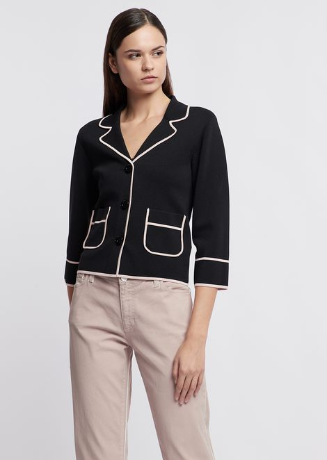 Short jacket in plain knit viscose fabric with contrasting trim