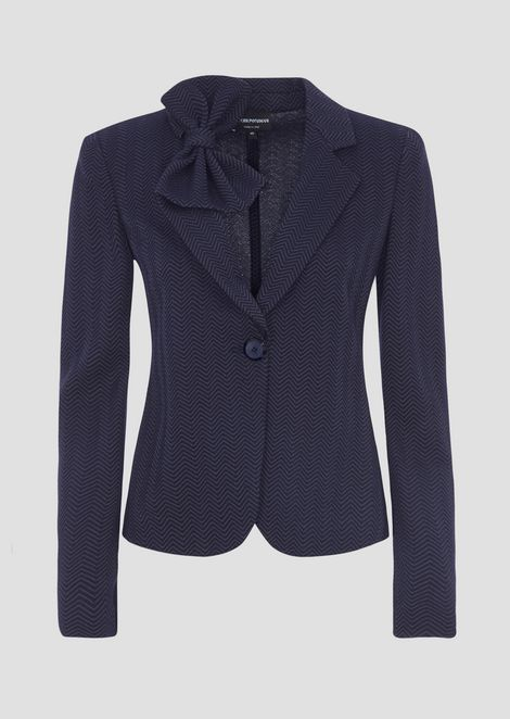 Jacquard jersey single-breasted blazer with two-tone design