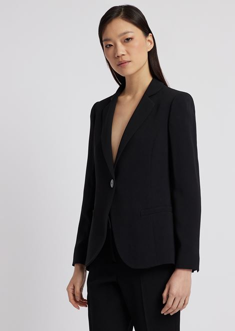 Slim-fit single-breasted blazer in envers satin