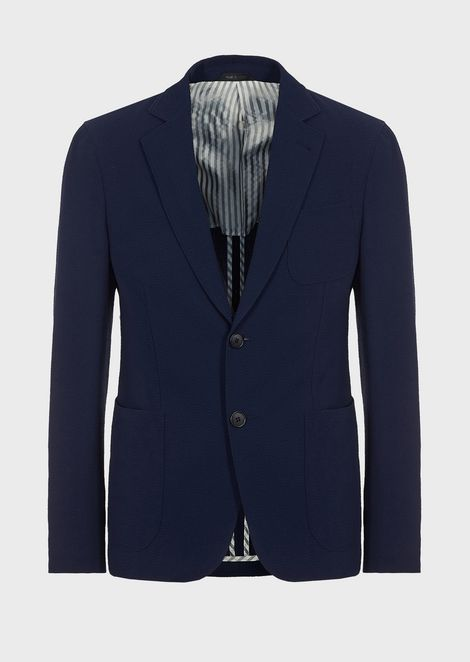 Regular-fit Upton line deconstructed jacket in stretch wool seersucker