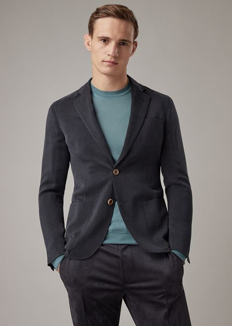 Regular-fit Upton range deconstructed jacket in fine-striped washed cupro ottoman