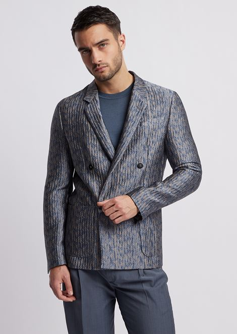 Double-breasted jacket with braided jacquard motif