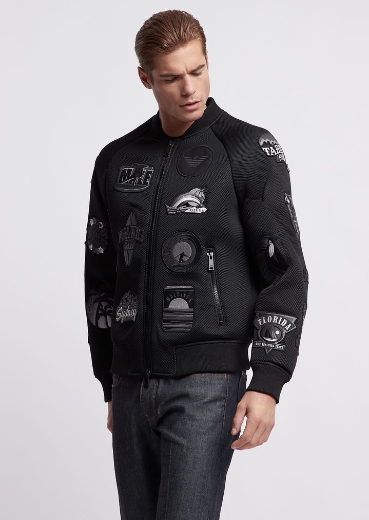d8a7192f9dd1 Bomber jacket in poly mesh with graphic patch appliqués