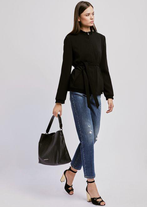 Zipped jacket with sash waist and gathered details
