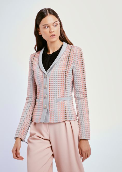 Single-breasted blazer with polka-dot jacquard motif