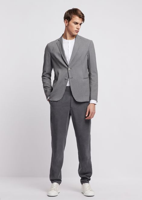 Regular-fit single-breasted blazer in stretch wool seersucker
