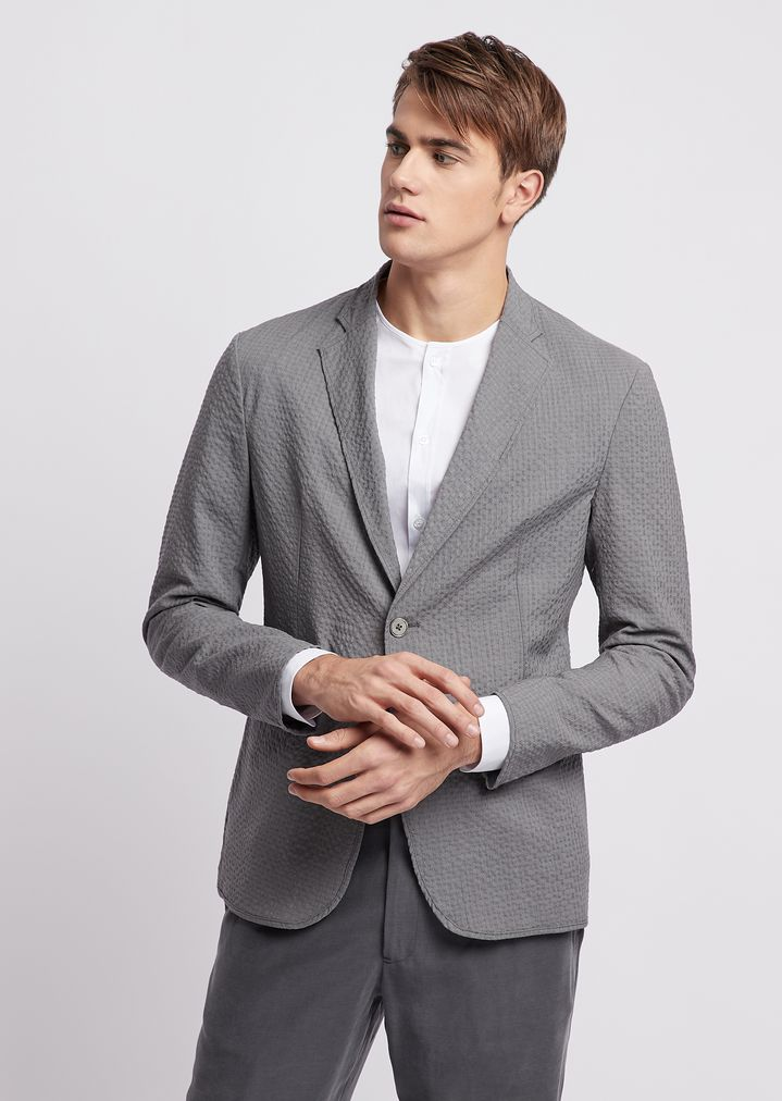 2cd5006edf Single-breasted regular fit jacket in stretch wool seersucker
