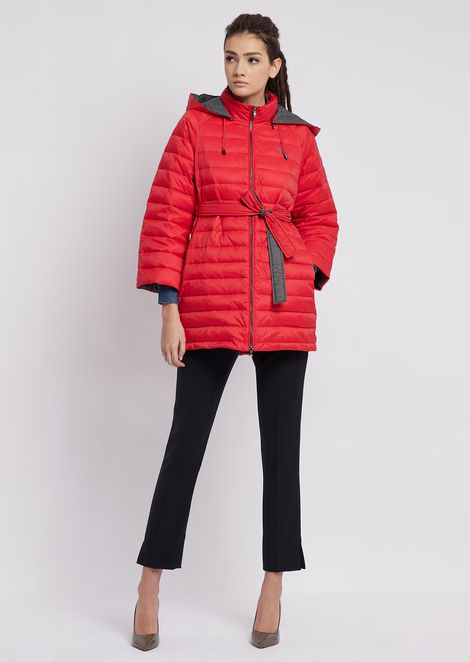 Quilted nylon jacket with oversized hood