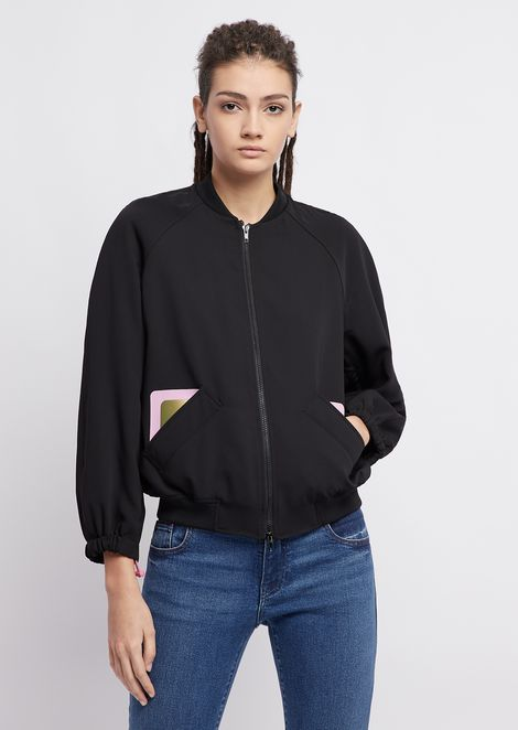 Bomber jacket in fluid fabric