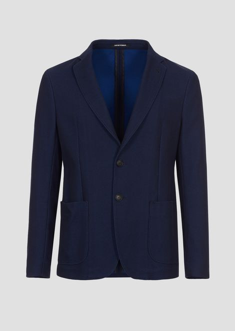 Single-breasted blazer in two-tone piqué jersey