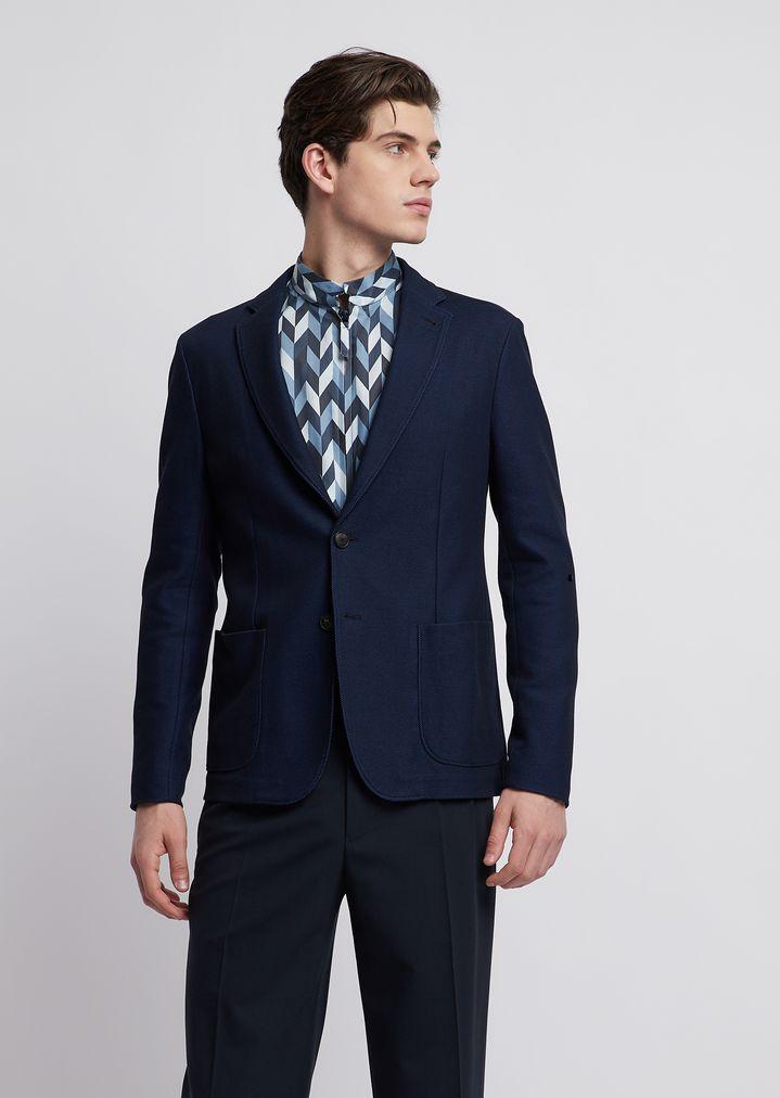 7fd6edaa13 Single-breasted blazer in two-tone piqué jersey