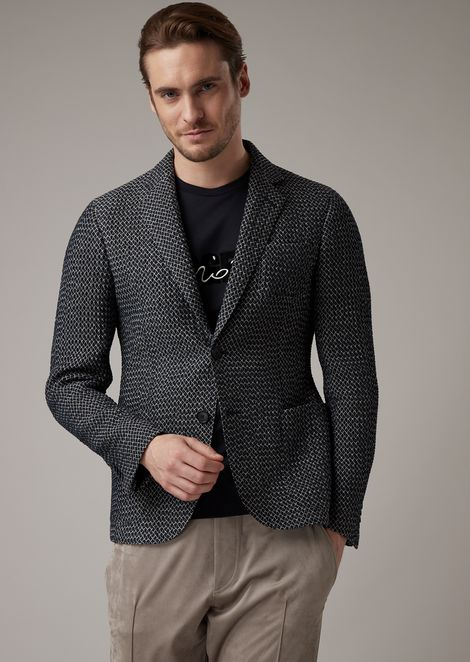 Regular-fit Upton line jacket in diamond-embossed fabric