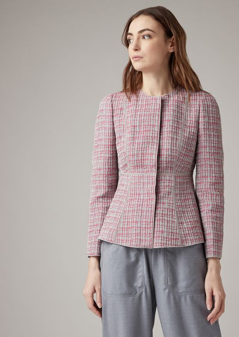Canvassed jacket in patterned jacquard silk with flared hem
