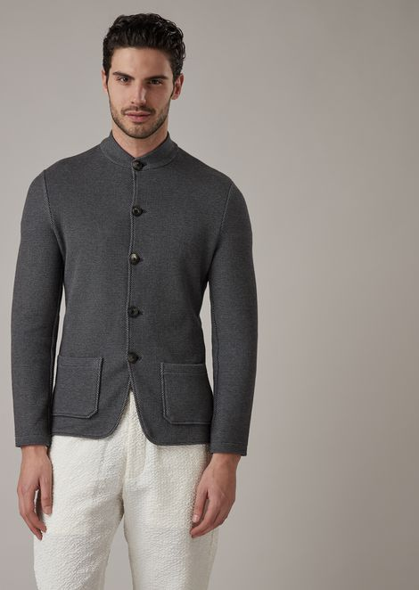 Jacket in cotton and cashmere bonded honeycomb fabric