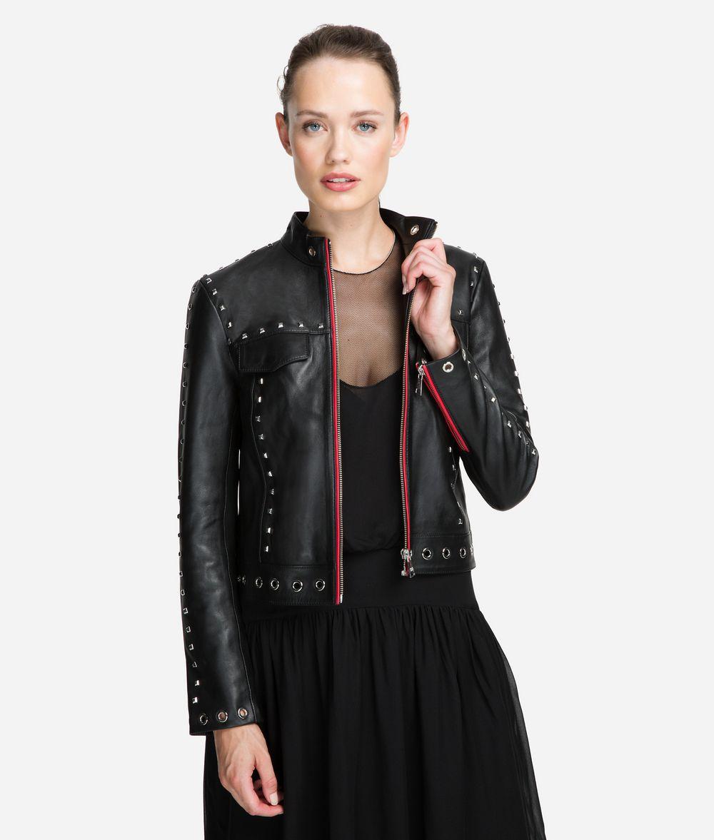 KARL LAGERFELD Studded Leather Jacket Jacket Woman f