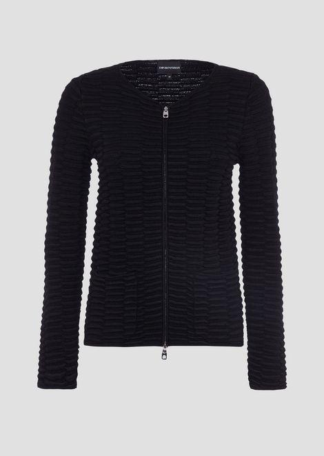 Cardigan in maglia punto rilievo con zip e tasche