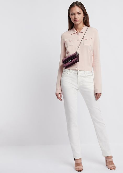 Plain-knit fabric jacket with pockets and collar