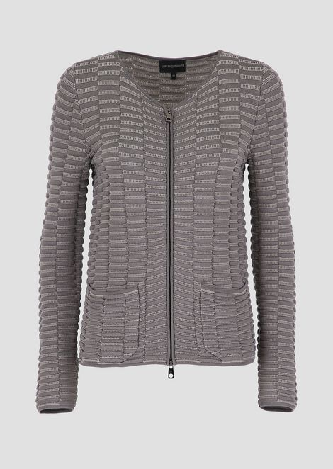 Embossed knit cardigan with zipper and pockets