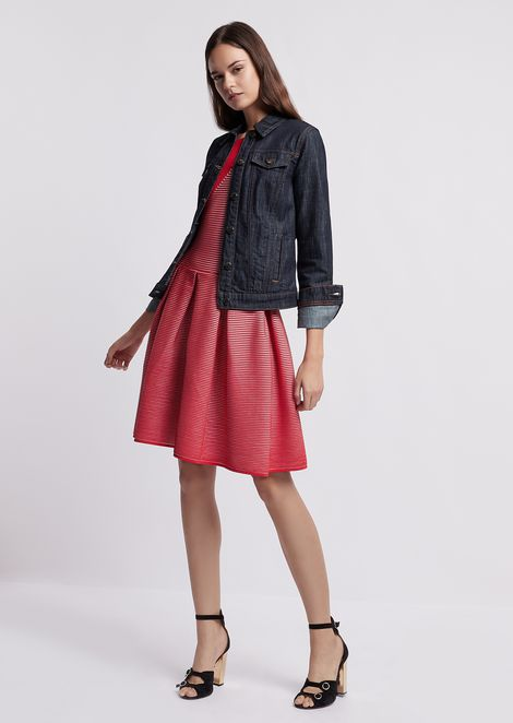 Denim jacket with contrasting stitching