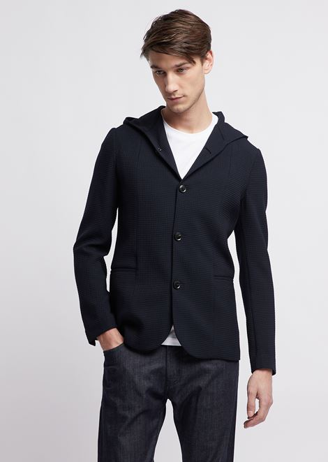 Jacket with hood in 3D ripstop stretch virgin wool
