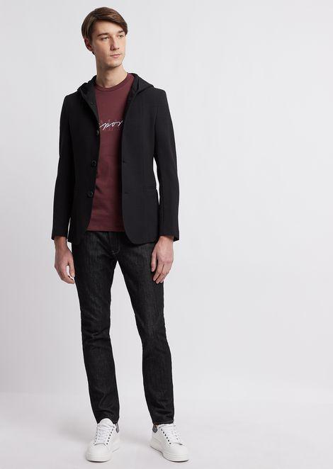 Пиджак с капюшоном из чистой эластичной шерсти с трехмерным плетением