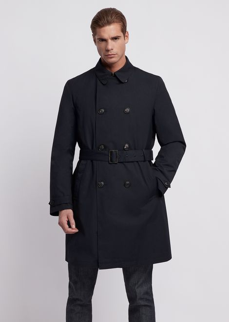 Double-breasted trench coat with belt, in coated rayon