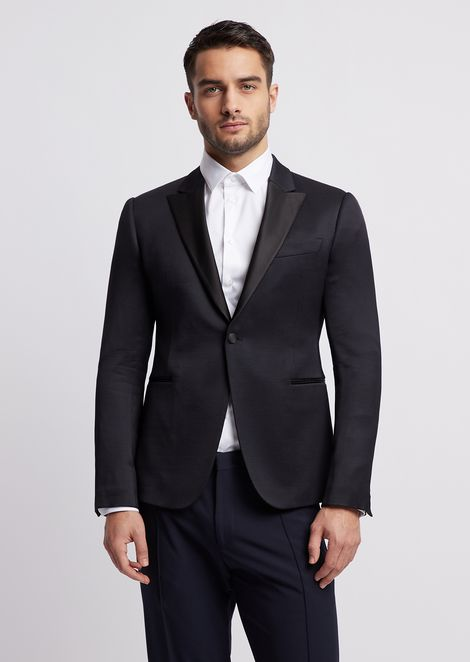 Single-breasted tuxedo jacket with satin lapels