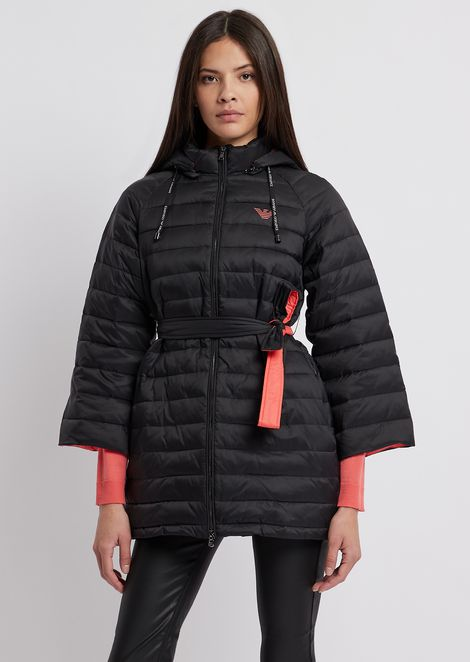 Quilted nylon jacket with oversize hood