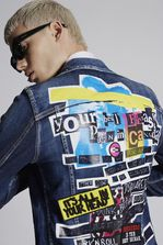 DSQUARED2 Dark Pink Spray Classic Denim Jacket With Acid Glam Print Denim outerwear Man