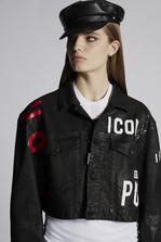 DSQUARED2 Leatherett Maxi Denim Jacket Denim outerwear Woman