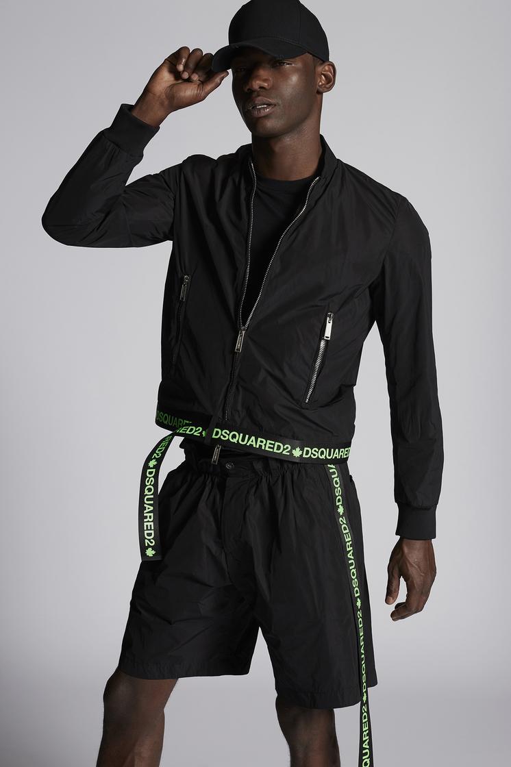 DSQUARED2 Nylon Boxy Bomber With Neon Logo Tape Waistband Belt Jacket Man