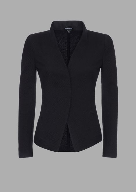 Jersey jacket with embossed design and Korean collar