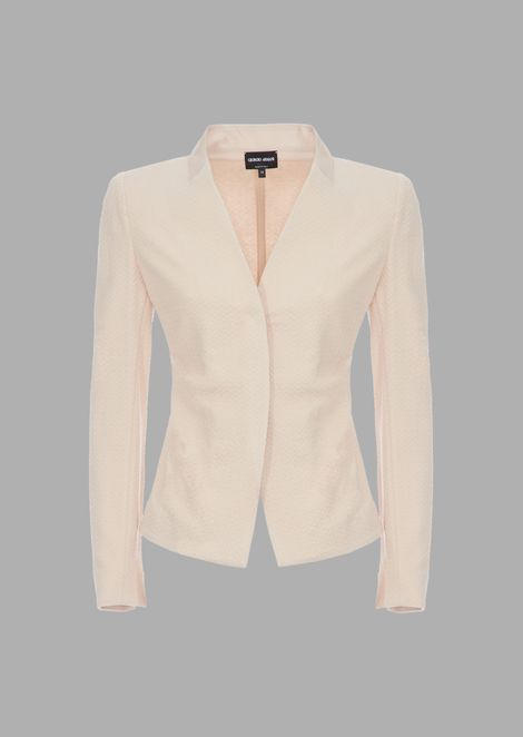 Jersey jacket with raised design and mandarin collar