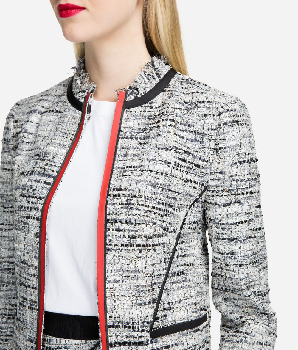 KARL LAGERFELD Bouclé Jacket with Accent Piping Jacket Woman d