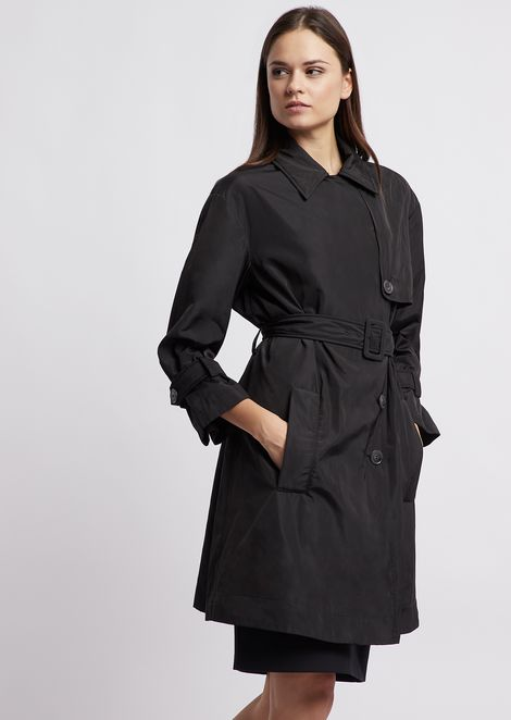 Double poly taffetà trench coat with belt