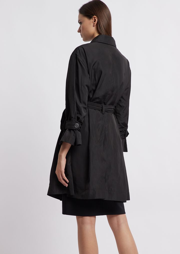 dfb3ae2bdfc Double poly taffeta trench coat with belt
