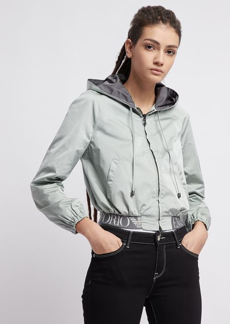 Taffeta bomber jacket with stretch logo band