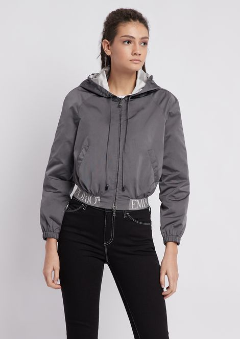Taffeta bomber jacket with elasticated logo band