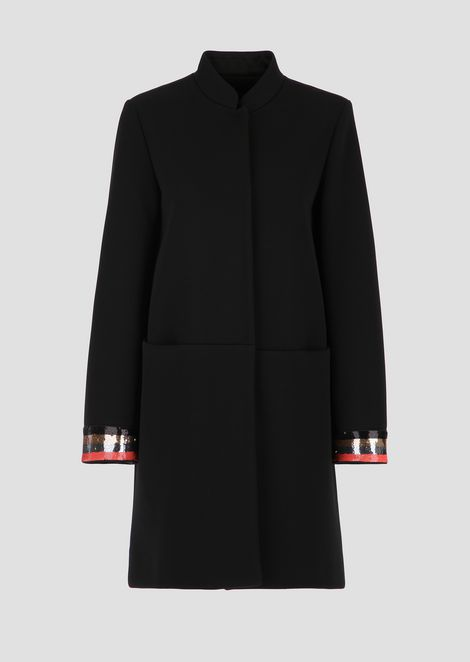 Tech canvas coat with sequin-embroidered cuffs