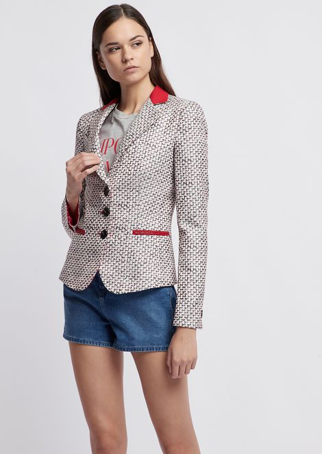 Single-breasted jacket in jacquard fabric with contrasting details