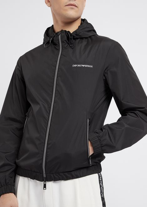 Reversible blouson with hood and zip