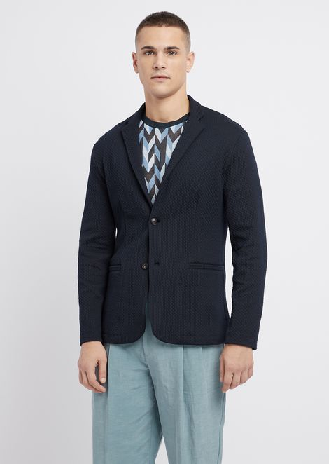 Slim fit single-breasted jacket in stretch viscose with raised stripe