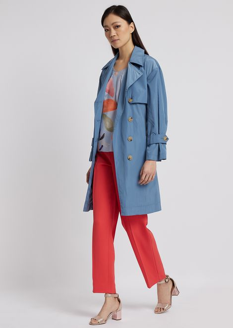 Double poly taffeta trench coat with belt