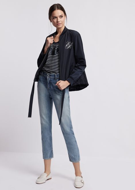 Blouson with embroidered logo on the front and sequin waves on the back